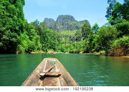 A boat ride on the other side of Kong Lor Cave in Central Laos