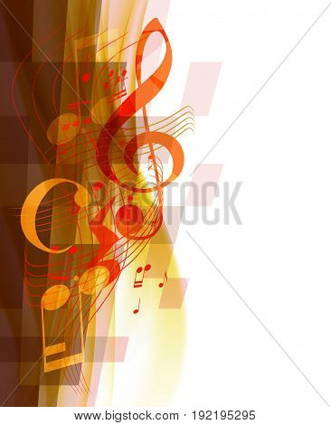 Musical treble key and musical notes and signs on wavy mosaic background. vector illustration