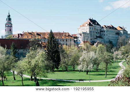 Panorama of town Cesky Krumlov, Czech Republic. Cesky Krumlov Castle
