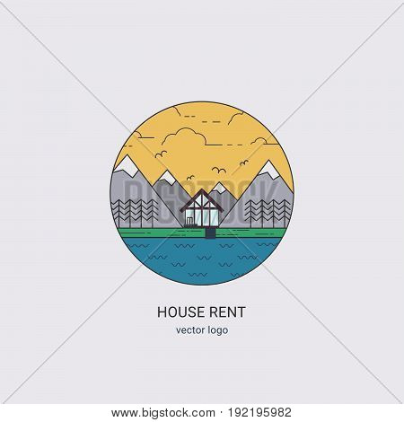 House Rent Vector Line Logo.