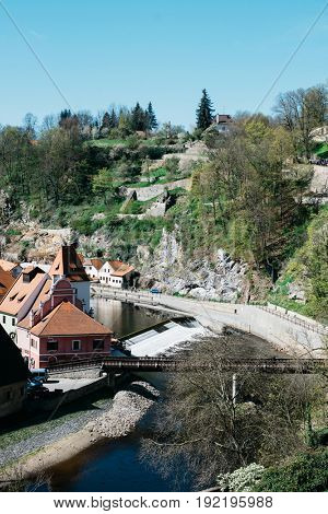 View of town Cesky Krumlov, Czech Republic. Vltava River