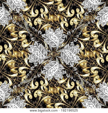 Seamless golden pattern. Vector golden floral ornament brocade textile pattern white doodles. Metal with floral pattern. Black background with golden elements.