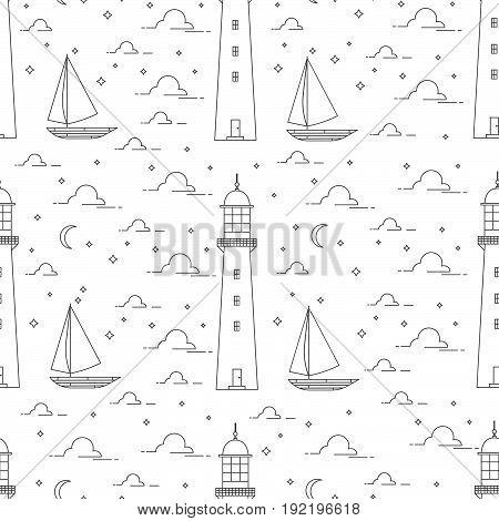 Lighthouse, Sea, Sailboat, Moonlight Night.vector Illustration.