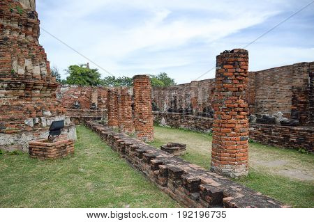 wat Mahathat Temple in Ayutthaya at Thailand