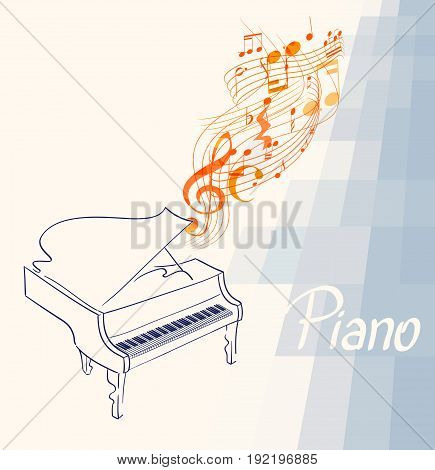 piano drawing with musical notes clef and lines on abstract background. vector illustration