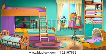 children's room with a crib and a bunk bed