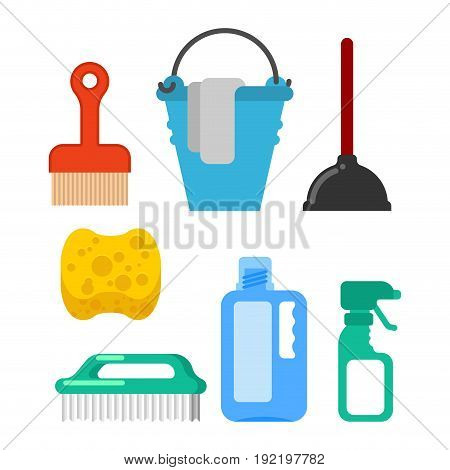 Cleaning Accessory. Washing Brush And Plunger. Bucket And Floorcloth. Sponge And Sprayer. Cleaner To