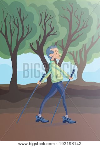 An elderly man practicing nordic walking with sticks outdoors. Active lifestyle and sport activities in old age. Vector illustration.