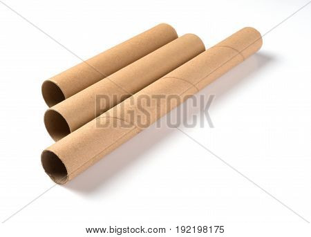 brown paper rolls on a white background