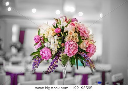 Beautiful flowers. Wedding decor. The concept of a party and wedding decor.
