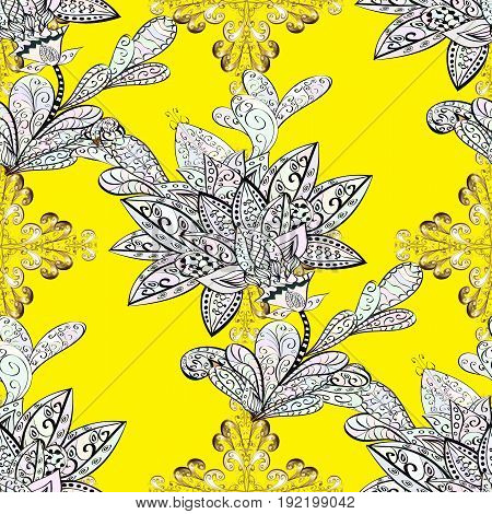 Vector oriental ornament. Seamless pattern on yellow background with golden elements and with white doodles. Seamless Golden pattern.