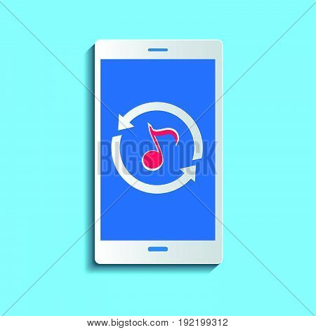 Upload music concept. Smartphone synchronizing data with the