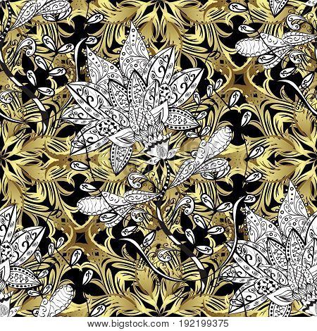 Seamless pattern on black background with golden elements and with white doodles. Seamless Golden pattern. Vector oriental ornament.