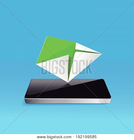E-Mail concept - Mailbox with Mail on Screen smartphone icon isolated on blue background