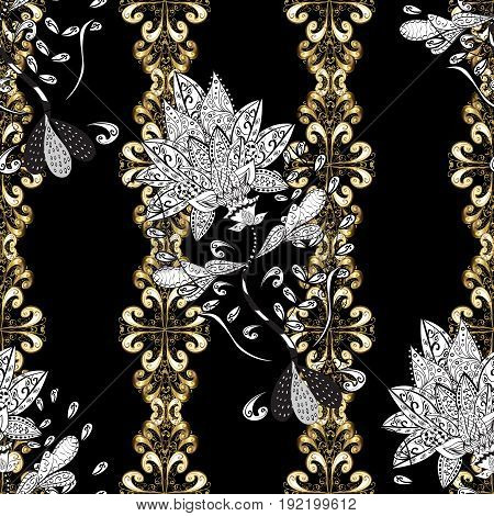 Vector illustration. Seamless oriental classic golden pattern. Vector abstract background with repeating elements on black background.