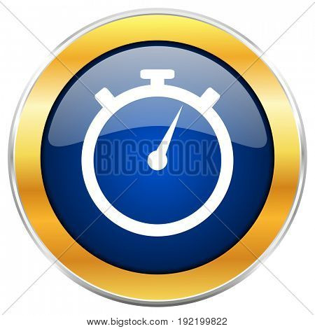 Stopwatch blue web icon with golden chrome metallic border isolated on white background for web and mobile apps designers.