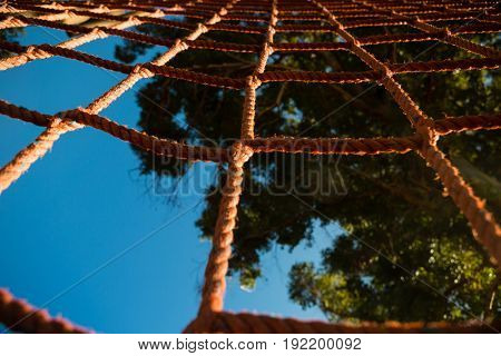 Close-up of net rope during obstacle course