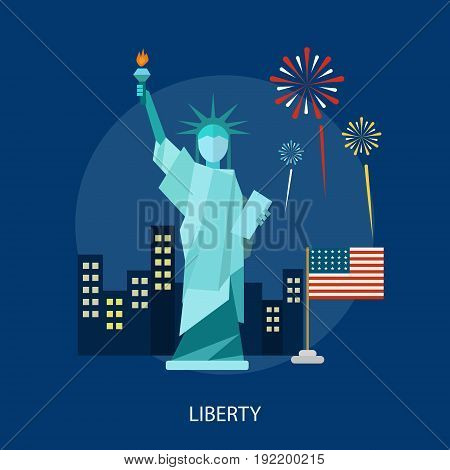 Liberty Conceptual Design | Set of great flat design illustration concepts for region, state, usa, independence and much more.