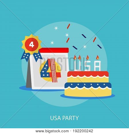 USA Party Conceptual Design | Set of great flat design illustration concepts for region, state, usa, independence and much more.