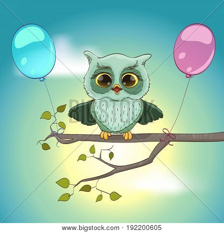 cartoon owl with open wings on a branch with balloons