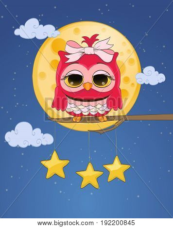 pink cute owl moon hanged stars night sky with clouds. cartoon childish vector illustration
