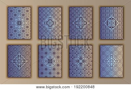 Card Set With Mosaic Lace Decorative Elements Background. Asian Indian Oriental Ornate Banners.