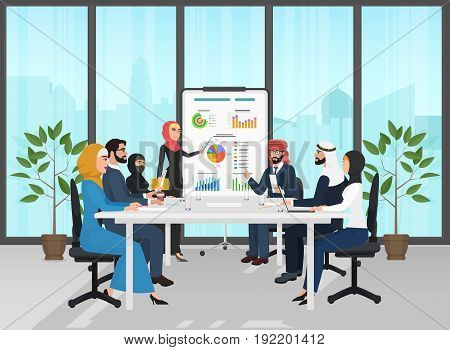Arab muslim business people group presentation in office. Arabic Businesspeople team training conference. Meeting cartoon flat Vector Illustration