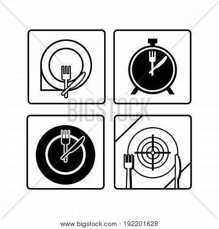 Time to eat. Plate dish with forks and knifes icons. Crosswise cutlery symbol. Dining etiquette. Circle concept web buttons. Vector
