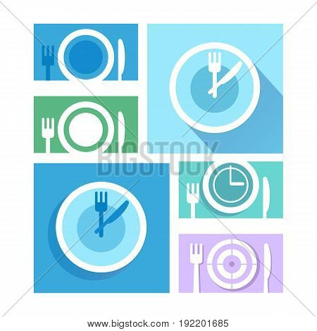 Plate dish with forks and knifes icons. Crosswise cutlery symbol. Dining etiquette. Circle concept web buttons.Time to eat.