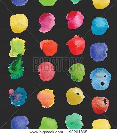 watercolor circles seamless pattern . Retro hand drawn circles ornament. Round shapes pattern. Round shapes. Painted ornament. Grunge colorful rounds shapes.