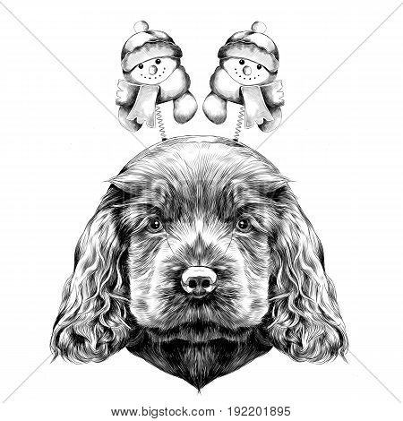 dog breed Cocker Spaniel puppy with Christmas headband on his head with horns and snowmen sketch vector graphics black and white drawing