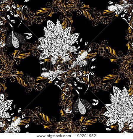 Golden pattern on black background with golden elements. Backdrop fabric gold sketch. Vector golden seamless pattern. Flat hand drawn vintage collection.