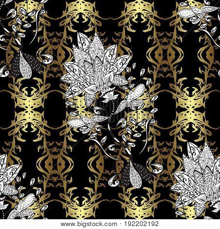 Black and golden pattern. Elegant vector classic pattern. Seamless abstract background with repeating elements.