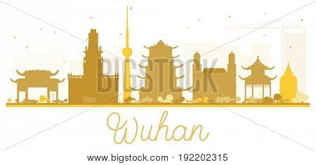 Wuhan City skyline golden silhouette. Simple flat illustration for tourism presentation, banner, placard or web site. Business travel concept. Cityscape with landmarks