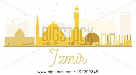 Izmir City skyline golden silhouette. Simple flat illustration for tourism presentation, banner, placard or web site. Business travel concept. Cityscape with landmarks.