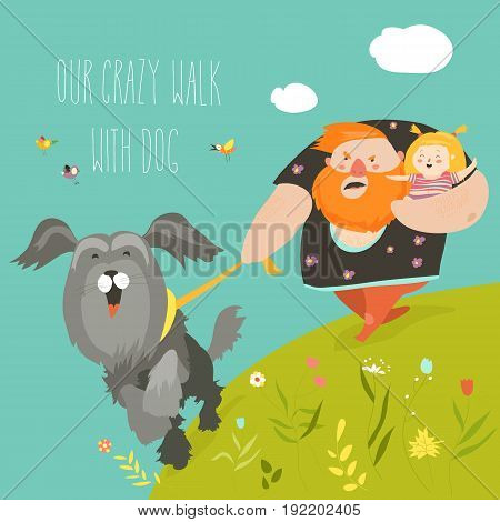 Father with his daughter walking with their crazy dog. Vector illustration
