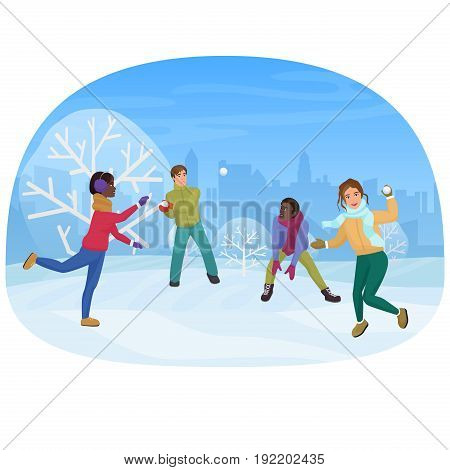 The group of friends playing the snowballs outside vector illustration