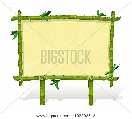 bamboo frame. blank signboard on tropical theme. cartoon vector illustration