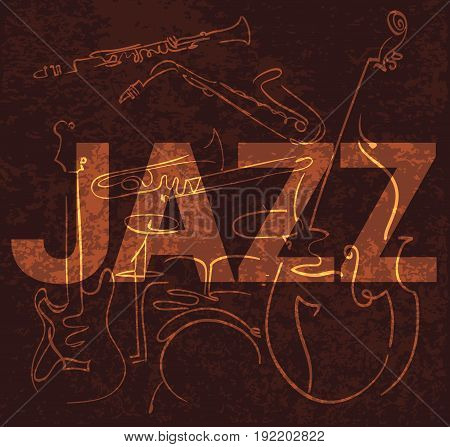 jazz musical instruments hand drawn lines composition on brown grungy background. vector illustration