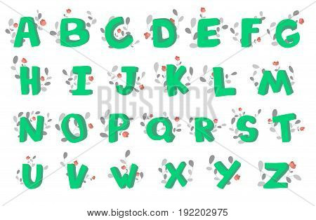 Hand-drawn 3d doodle alphabet, decorated with flowering plants. Vector font illustration on white backgrounds.