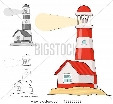 lighthouse. cartoon vector illustration. grayscale and coloring versions included