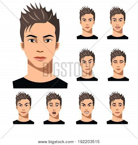Attractive haired young man on different face expressions collection. Vector illustration