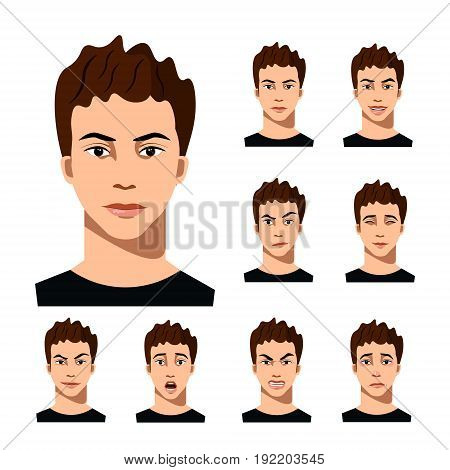 Set of male facial emotions. Man character with different expressions. Vector illustration in cartoon style
