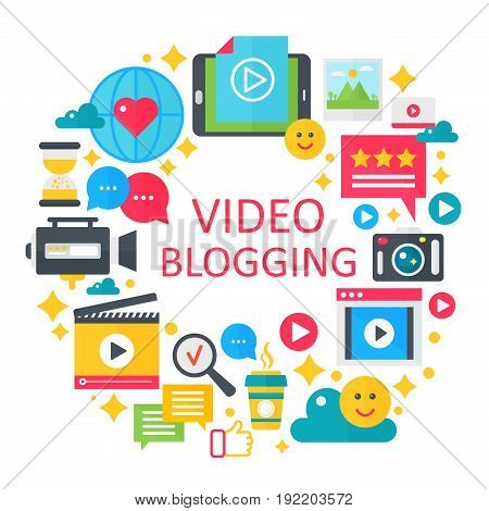 Video blogging flat vector concept illustration. Poster, template for web