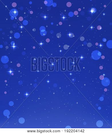 blue sky with stars and light effects abstract background. vector illustration