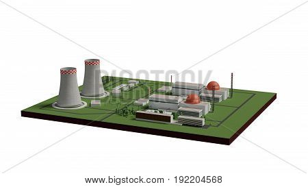 nuclear power plant 3d render isolated on white