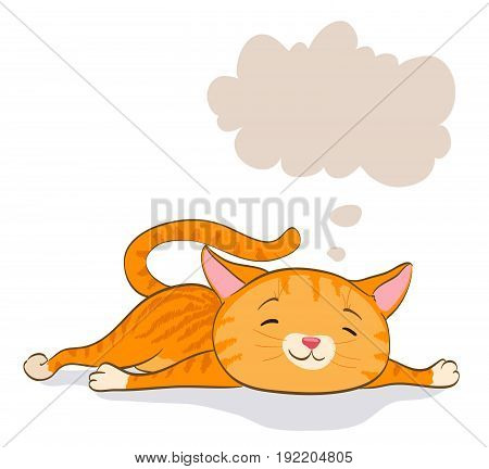 cute little cat laying and thinking. red tabby kitten and speech bubble. cartoon vector illustration