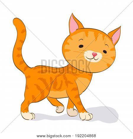 cute little cat walking. red tabby kitten. cartoon vector illustration
