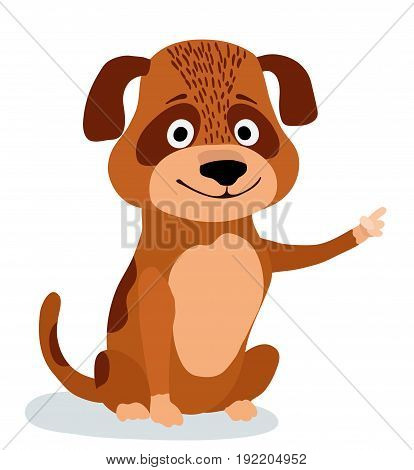 cute cartoon dog pointing on white. vector illustration