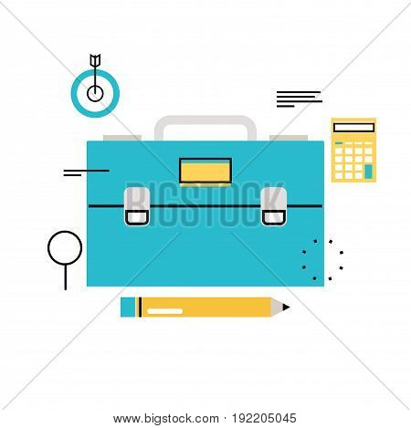 Job and career, freelance work, business management flat vector illustration design. Business consulting, portfolio, professional orientation, trainings and courses design for mobile and web graphics